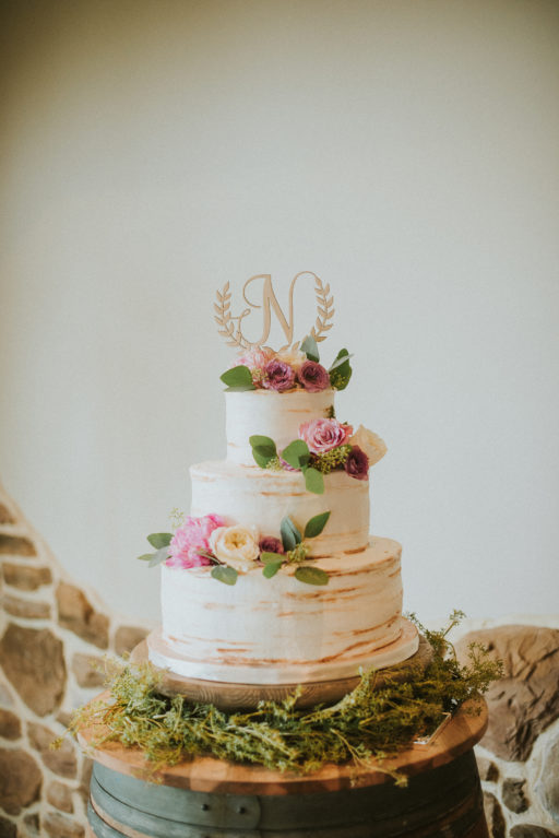 pink, blue, green, thistle, dahlia, greenery, winery wedding lavendar cake