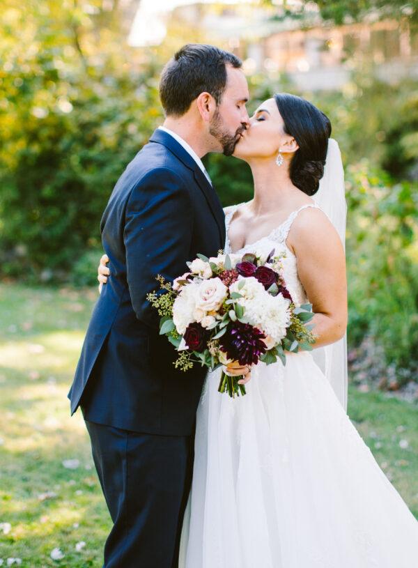 classic burgundy, blush, wedding dahlia bride and groom