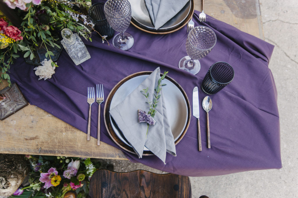 blues, gem tones, mineral stones, bohemian styled shoot tablescape