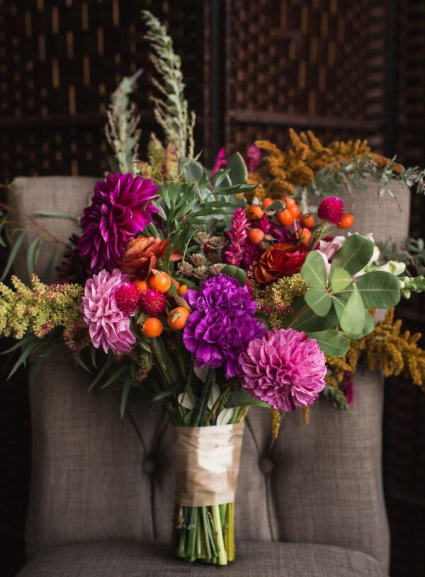 purple, orange, pink, colorful geometric, black and white stripes wedding bridal bouquet