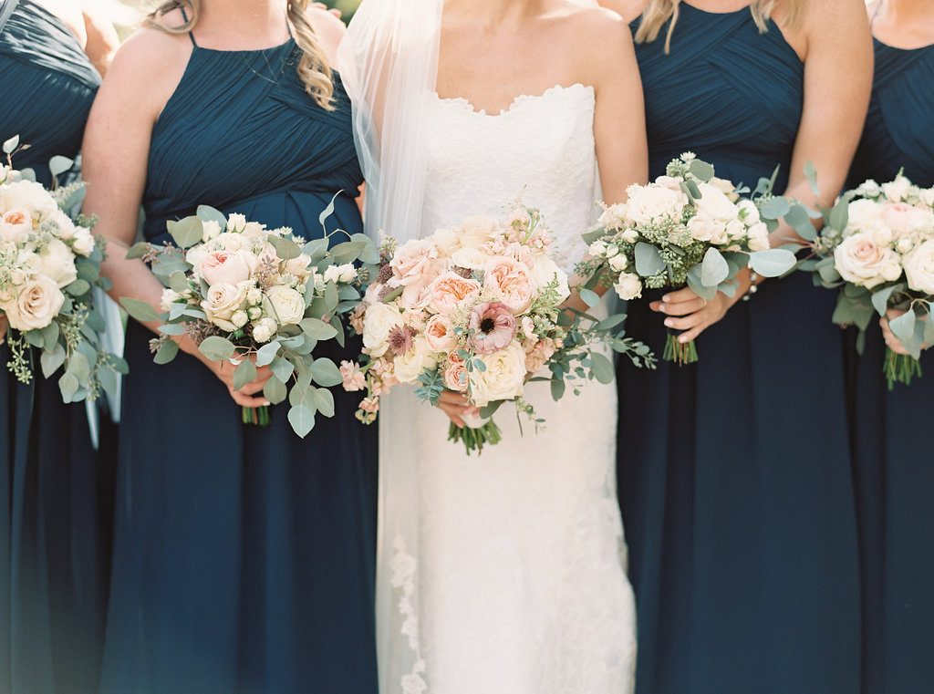 Blush, sage green, peony, fall wedding bridal bouquet bridesmaids bouquets navy dresses