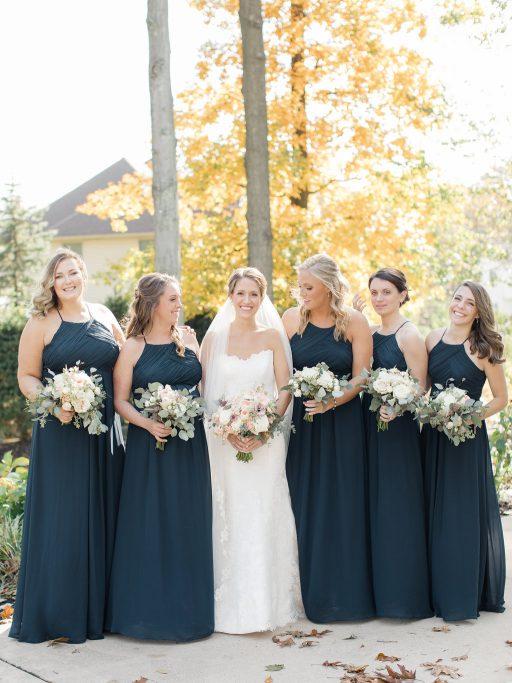 Blush, sage green, peony, fall wedding bridal party, navy dresses