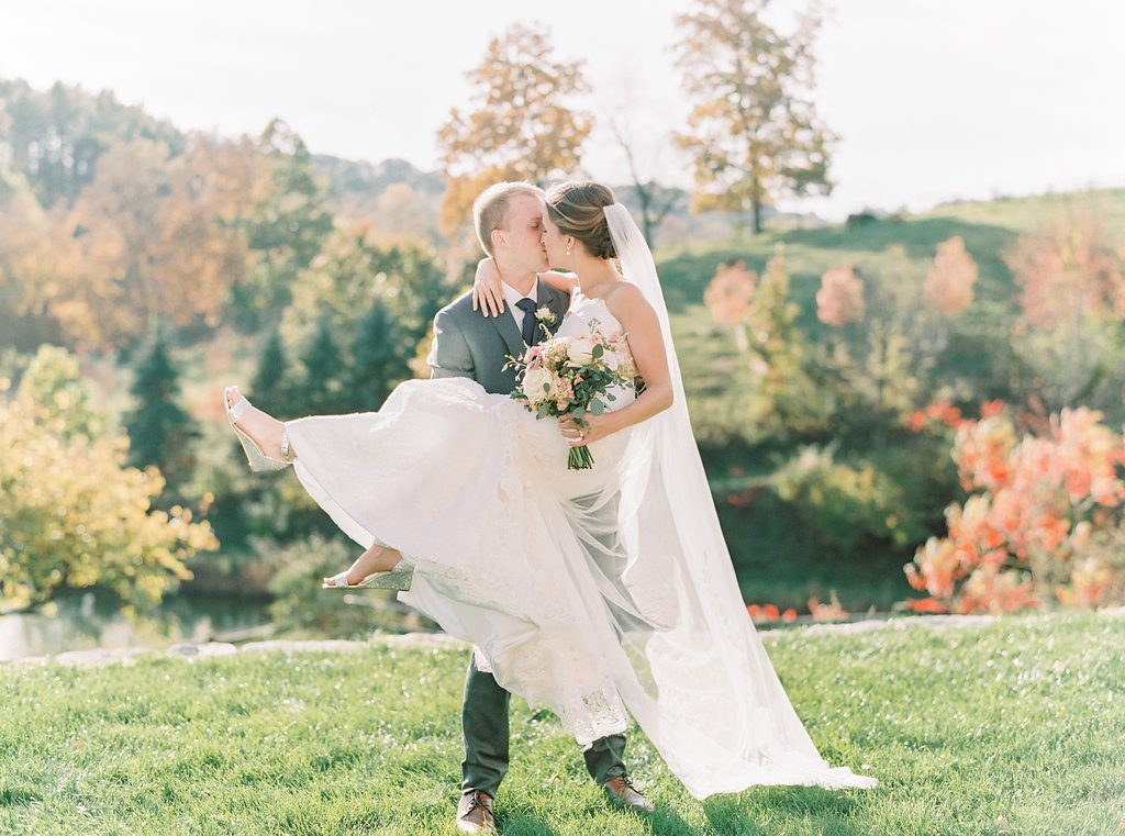 Blush, sage green, peony, fall wedding bride and groom