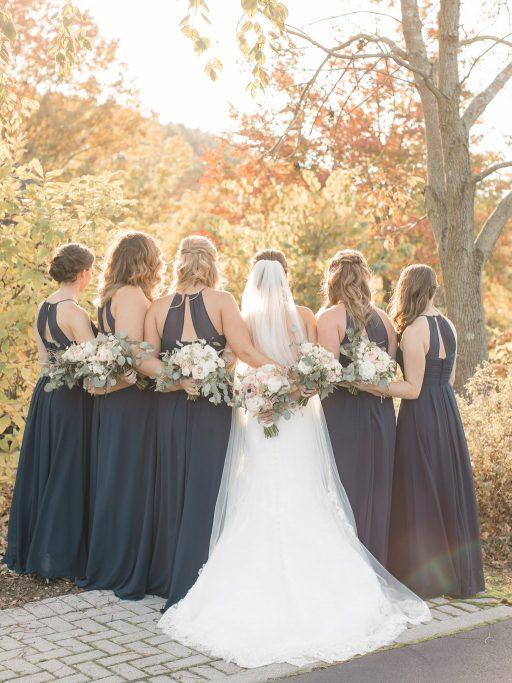 Blush, sage green, peony, fall wedding bride and bridesmaids