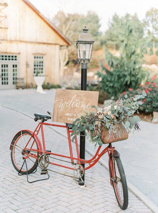 Blush, sage green, peony, fall wedding bicycle