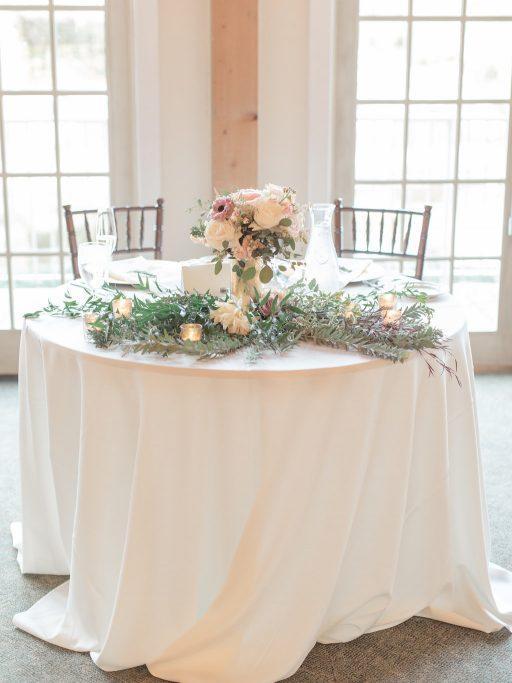 Blush, sage green, peony, fall wedding sweetheart table
