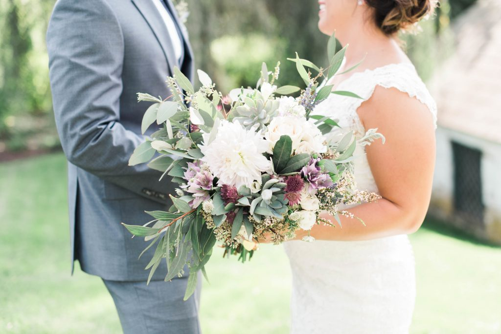 Lavender, greenery, garden, succulents, dahlias, wedding, bride and groom