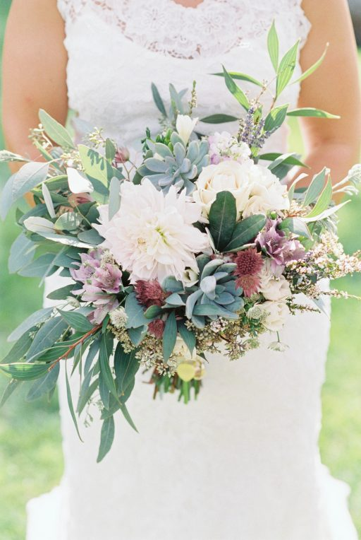 Lavender, greenery, garden, succulents, dahlias, wedding, bridal bouquet