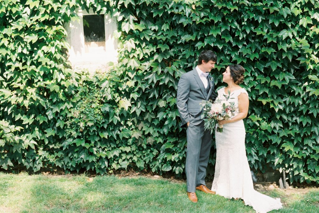 Lavender, greenery, garden, succulents, wedding, bride and groom