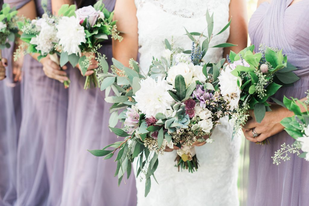 Lavender, greenery, garden, succulents, dahlias, wedding, bridal party bouquets