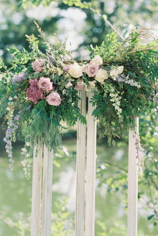 Lavender, greenery, garden, succulents, dahlias, wedding, vintage doors, floral corner pieces