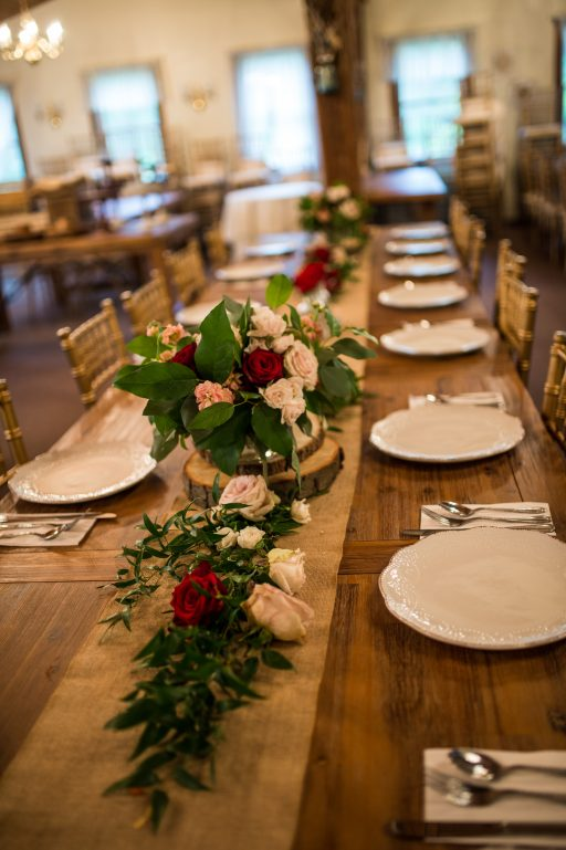 Burgundy, blush, red, greenery, roses, rustic chic wedding, farm table aisle runner centerpiece