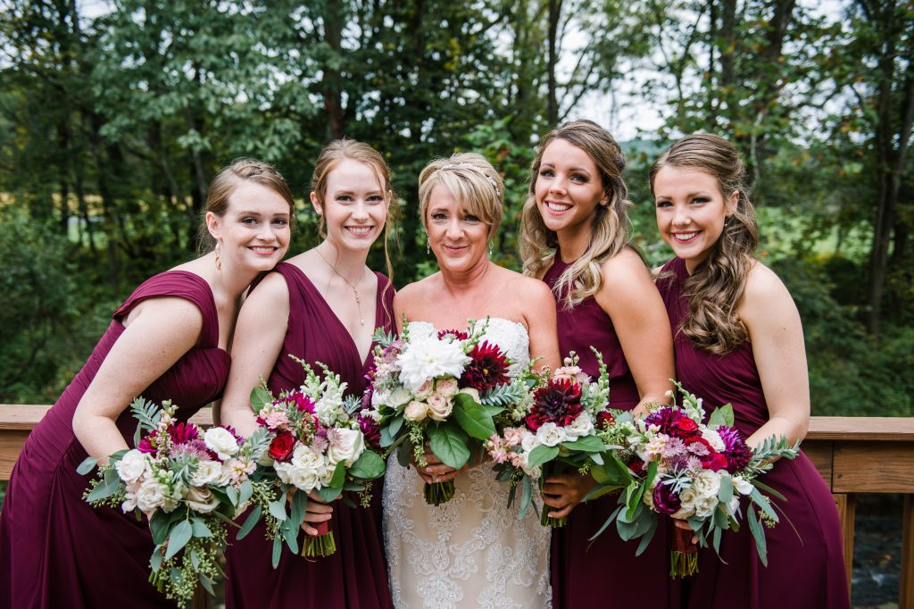 Burgundy, blush, red, greenery, roses, dahlias, rustic chic wedding, bouquets