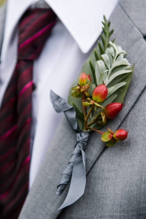 Burgundy, blush, red, greenery, roses, dahlias, rustic chic wedding, boutonniere