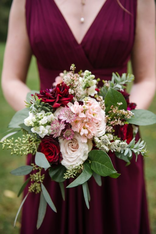 Burgundy, blush, red, greenery, roses, dahlias, rustic chic wedding, bridesmaid bouquet