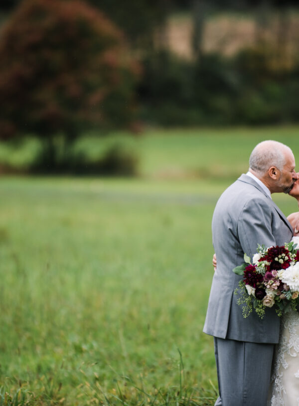 Burgundy, blush, red, greenery, roses, dahlias, rustic chic wedding, bride and groom