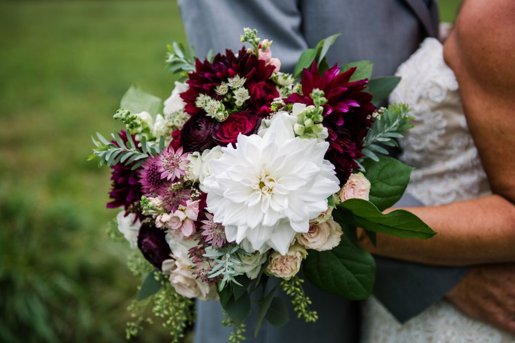 Burgundy, blush, red, greenery, roses, dahlias, rustic chic wedding, bridal bouquet