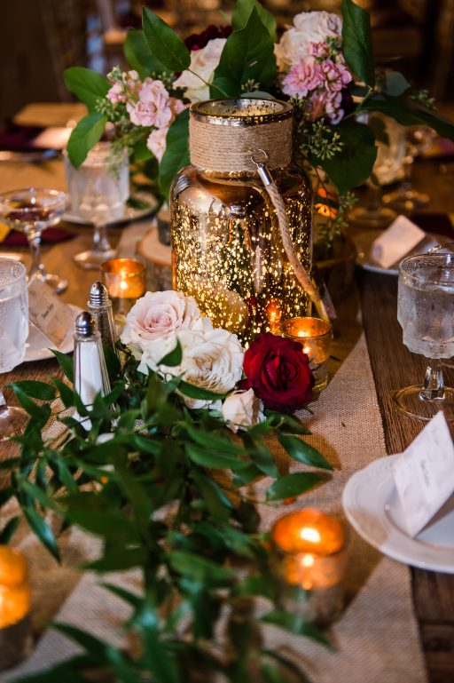 Burgundy, blush, red, greenery, roses, dahlias, rustic chic wedding, greenery and bloom runner centerpiece
