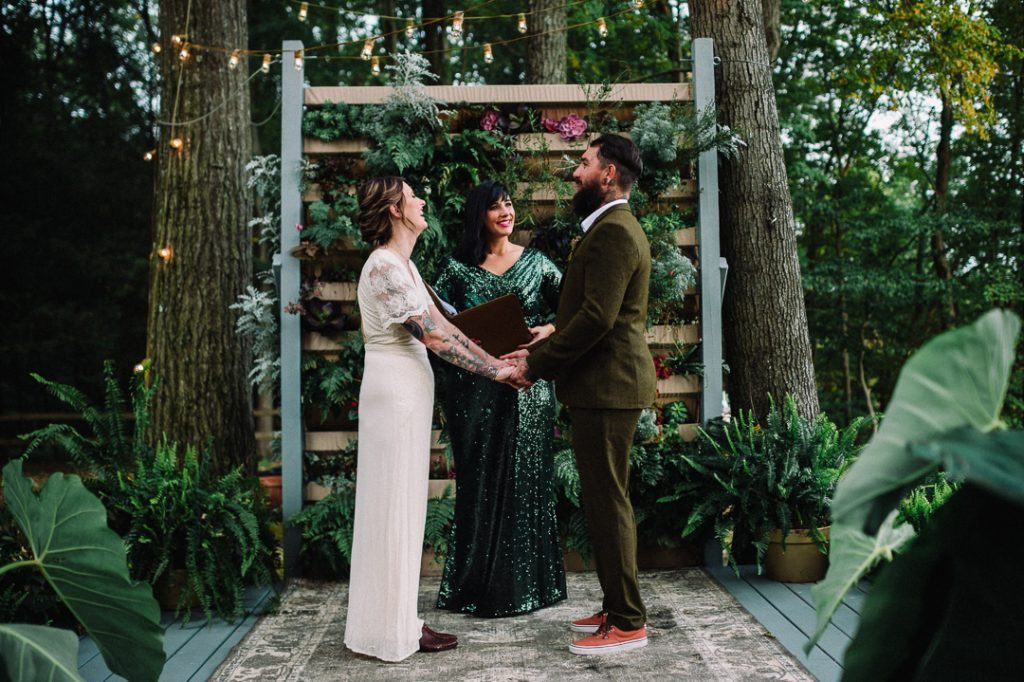 Greenery micro wedding boho palm, hydrangea, ivy, greenery wall ceremony