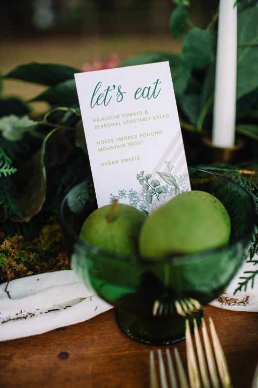 Greenery micro wedding boho palm, hydrangea, ivy, sweetheart table pears menu
