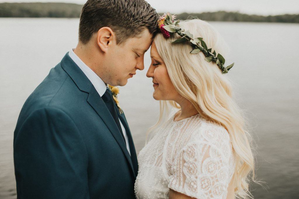 Camp wedding, wild flowers, colors, rustic, bride and groom