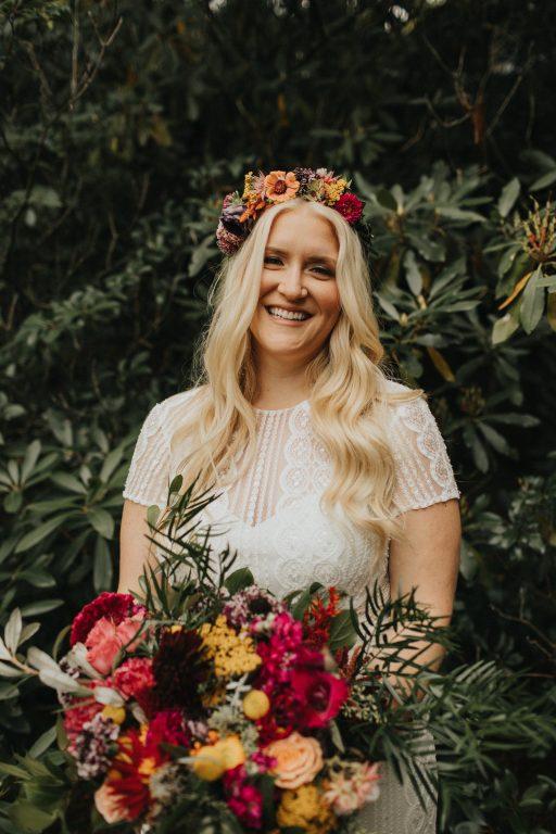 Camp wedding, wild flowers, colors, rustic, bridal bouquet hair crown
