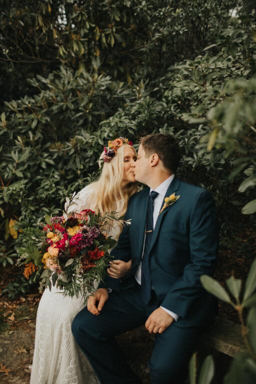 Camp wedding, wild flowers, colors, rustic, bridal bouquet hair crown bride and groom