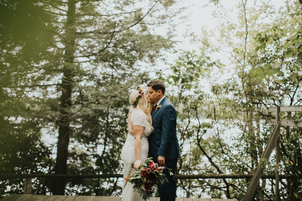 Camp wedding, wild flowers, colors, rustic, bride and groom