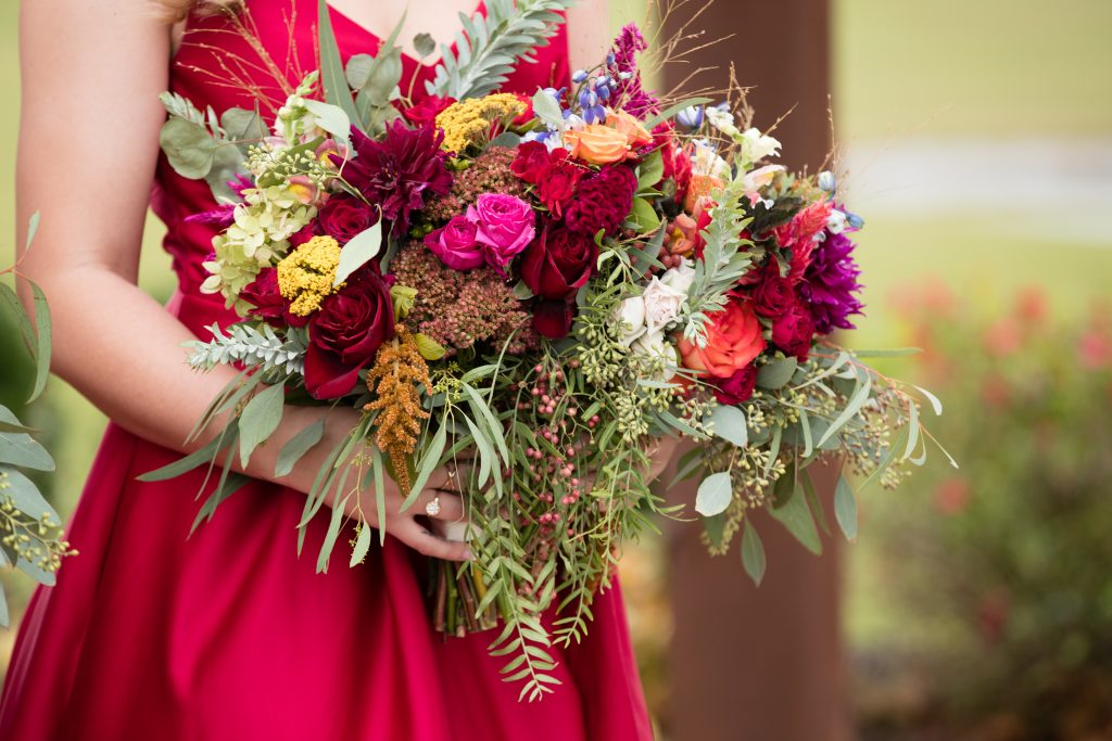 Fall wedding, red, green, yellow, pink florals, dahlias bridesmaids