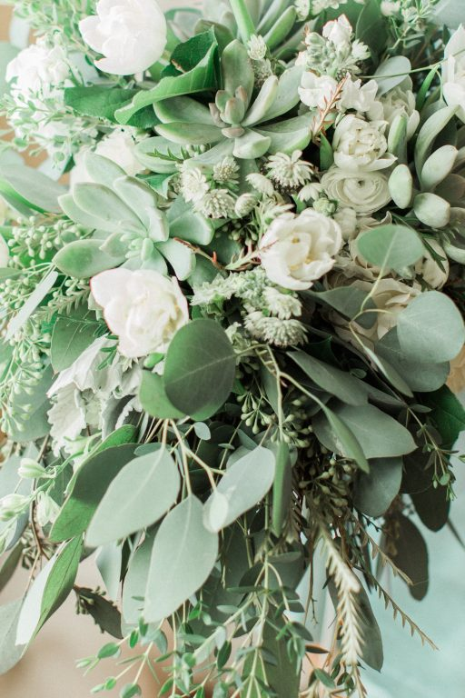 Green, white, cream, blush, eucalyptus, wedding bridal bouquet