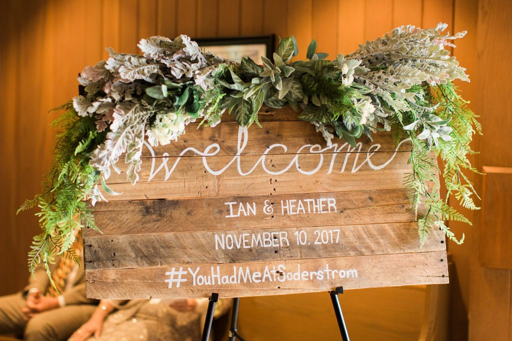 Green, white, cream, blush, eucalyptus, wedding welcome sign greenery swag