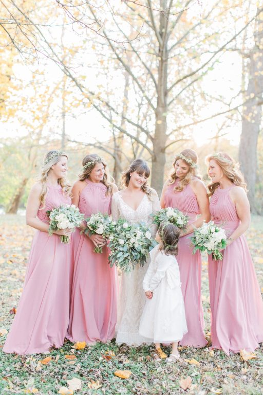 Green, white, cream, blush, eucalyptus, wedding, bridesmaids