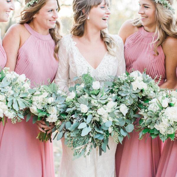 Green, white, cream, blush, eucalyptus, wedding, bridesmaids