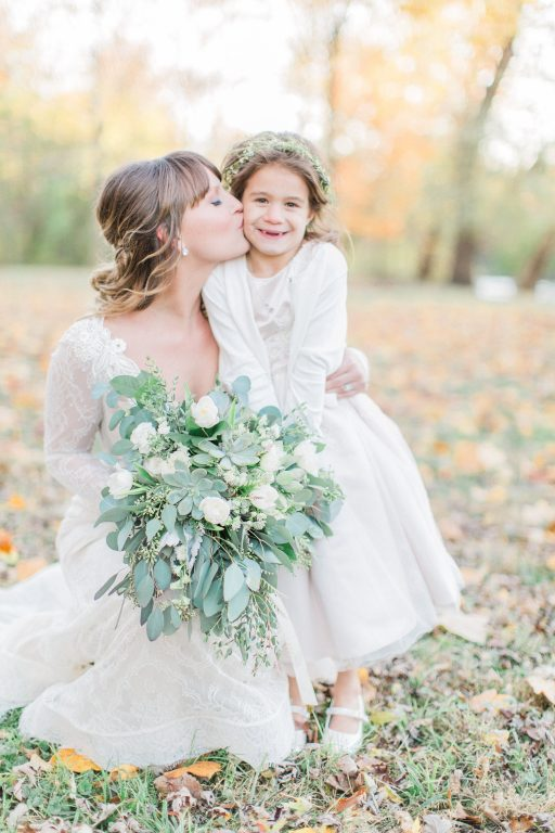 Green, white, cream, blush, eucalyptus, wedding, bride and flower girl