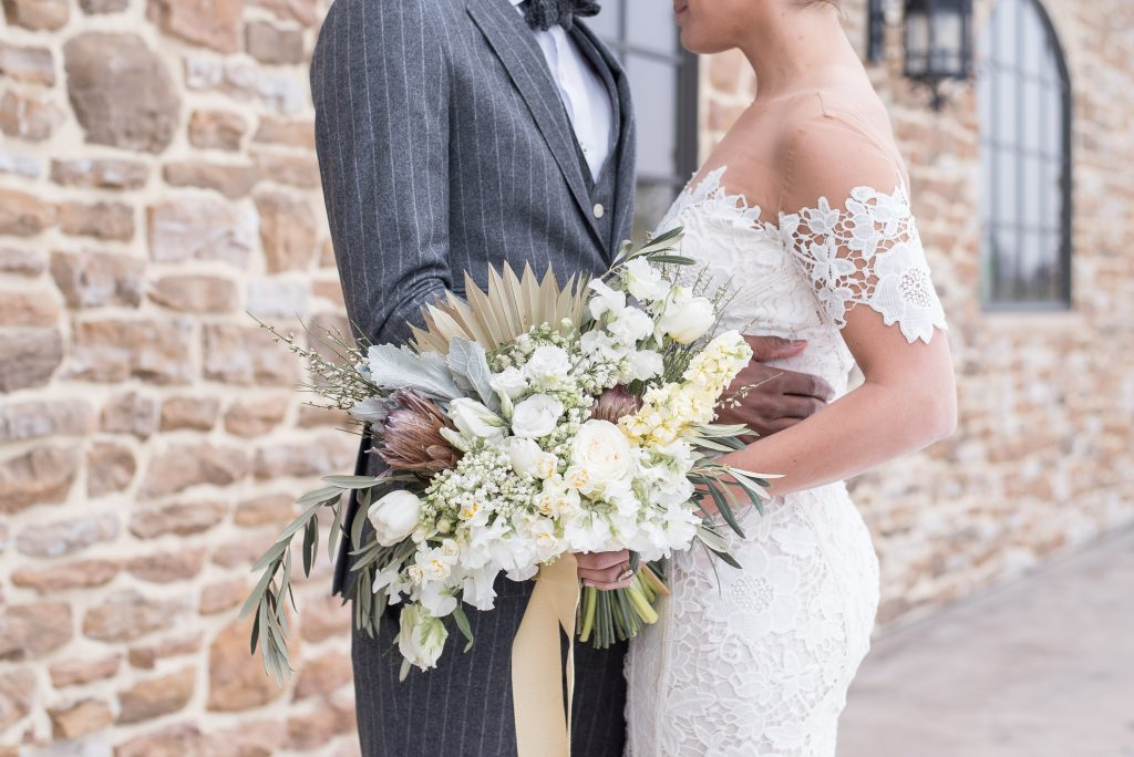 vineyard, winery, spring shoot, tulips, white floral, greenery, bride and groom