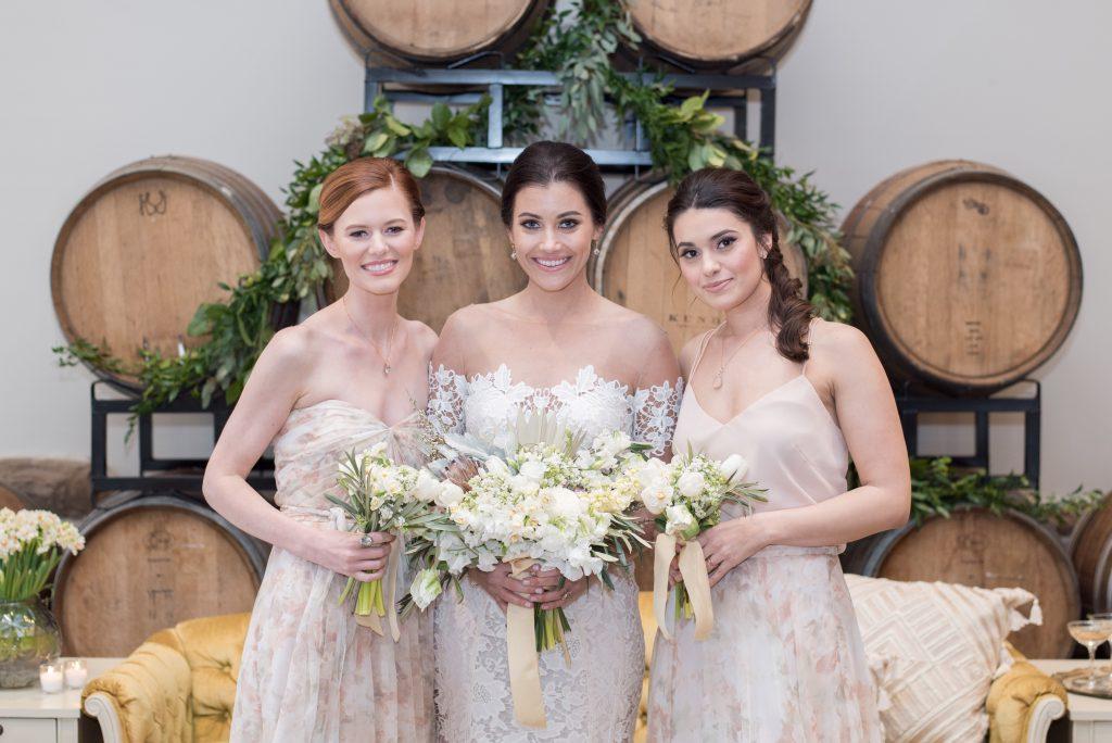 vineyard, winery, spring shoot, tulips, white floral, greenery, bridesmaids