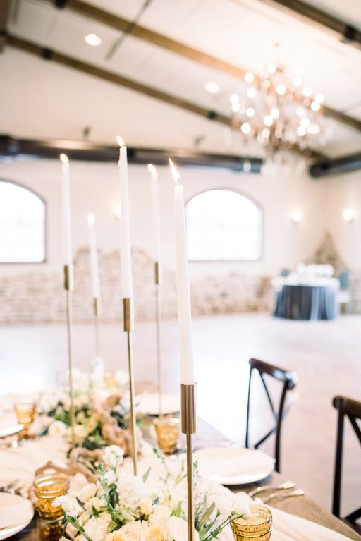 vineyward, winery, styled shoot, spring, white, tulips, greenery, gold candlesticks centerpiece