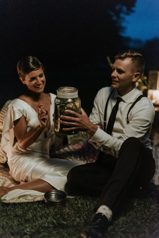 Firefly shoot elopement, colorful greenery