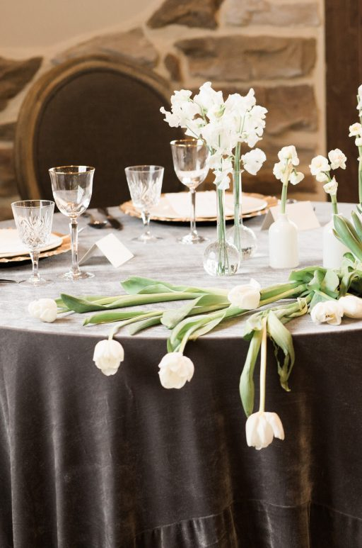 Vineyard, winery, spring time, white floral, greenery, tulips, sweetheart table