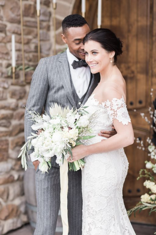 Vineyard, winery, spring time, white floral, greenery, tulips, bride and groom
