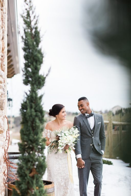 vineyard, winery, spring time, tulips, white floral, greenery, bride and groom
