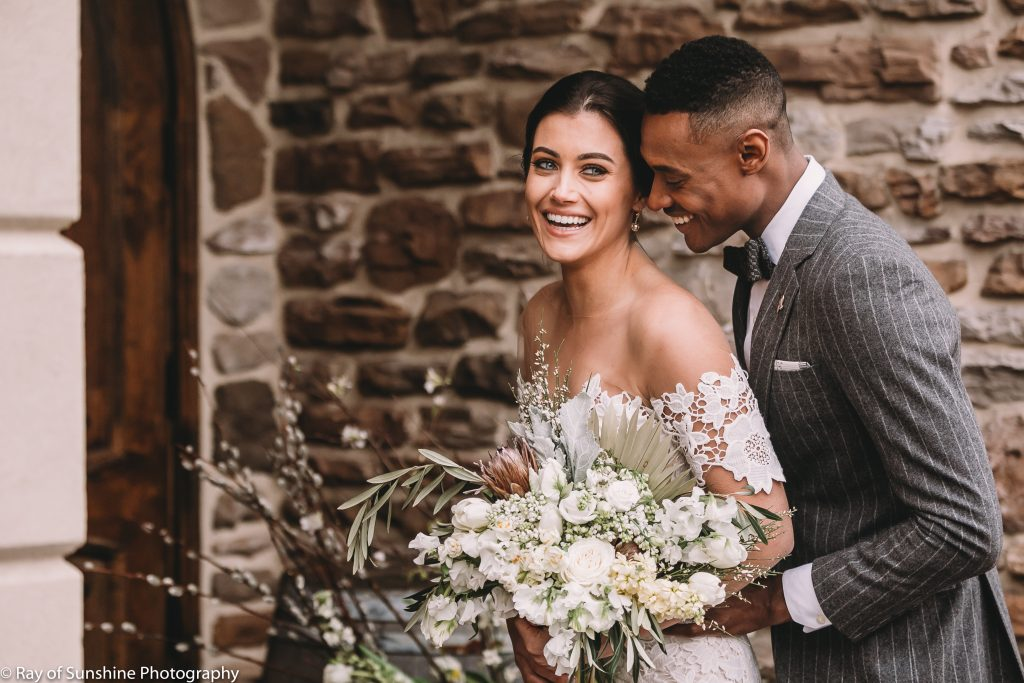 Vineyward, winery, spring shoot, white floral, greenery, tulip, bride and groom