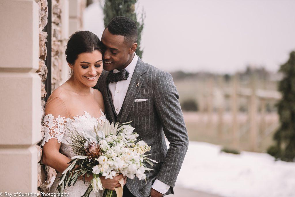 Vineyward, winery, spring shoot, white floral, greenery, tulip, bride and groom
