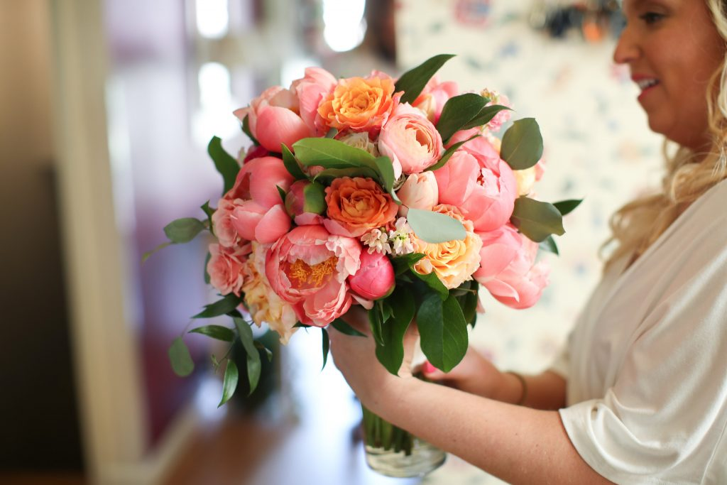 pink, orange, greenery, garden roses, peonies, roses, spring wedding, bridal bouquet