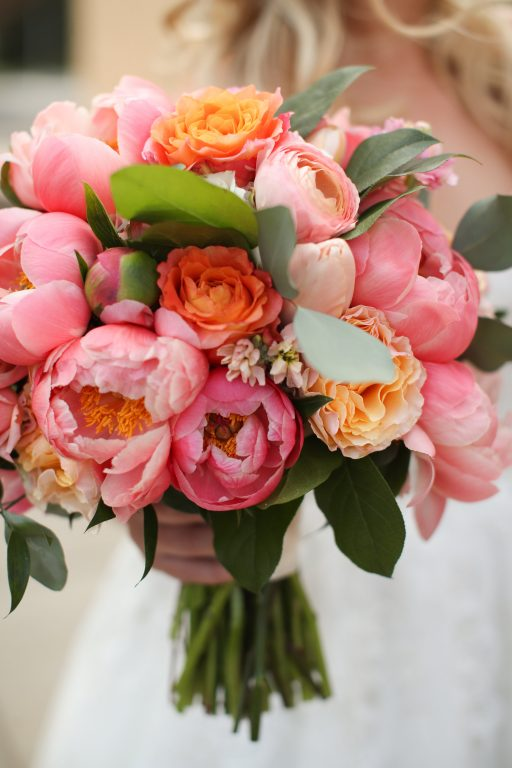 purple, pink, orange, greenery, garden roses, peonies, roses, spring wedding, bridal bouquet