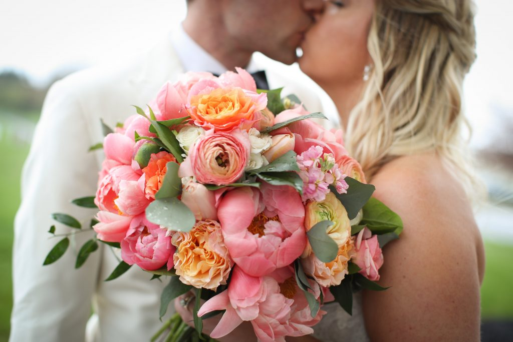 purple, pink, orange, greenery, garden roses, peonies, roses, spring wedding, bride and groom