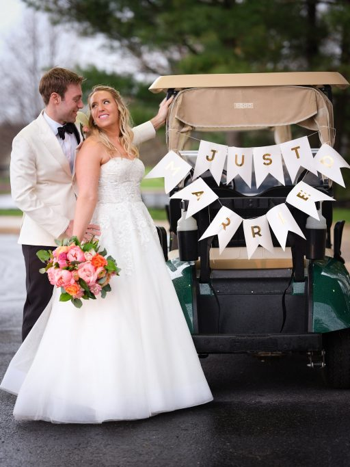 purple, pink, orange, greenery, garden roses, peonies, roses, spring wedding, bride and groom golf cart
