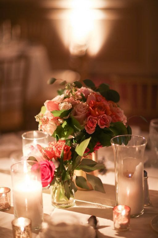 purple, pink, orange, greenery, garden roses, peonies, roses, spring wedding, centerpiece