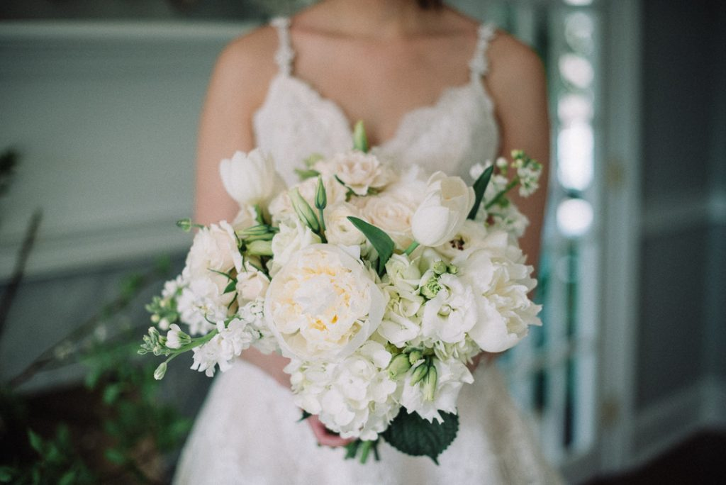 white hydrangea, peonies, tulips, stock, majolica, spring wedding, classic, bridal bouquet