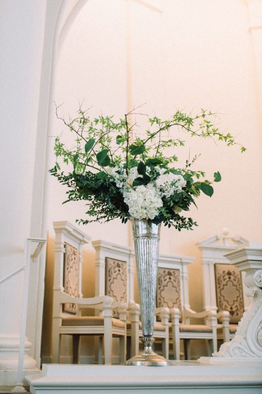 white hydrangea, peonies, tulips, stock, majolica, spring wedding, classic, wild branches, altar piece